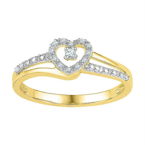 10kt Yellow Gold Womens Round Diamond Heart Love Promise Bridal Ring 1/20 Cttw - 101781-5