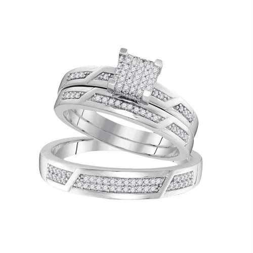 10kt White Gold His & Hers Round Diamond Cluster Matching Bridal Wedding Ring Band Set 1/3 Cttw - 99533-5.5