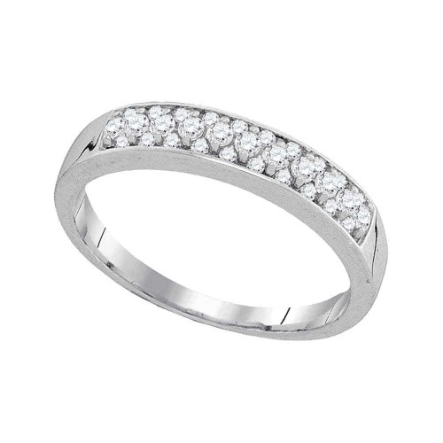 10kt White Gold Womens Round Pave-set Diamond Single Row Wedding Band 1/4 Cttw - 94072-9