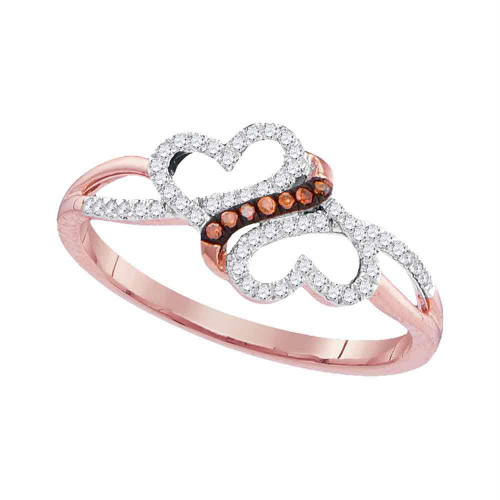 10kt Rose Gold Womens Round Red Color Enhanced Diamond Double Heart Love Ring 1/6 Cttw