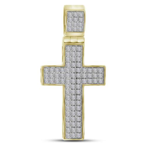 10kt Yellow Gold Mens Round Diamond Christian Cross Charm Pendant 1/4 Cttw