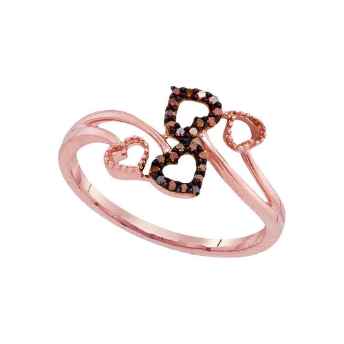 10kt Rose Gold Womens Round Red Color Enhanced Diamond Double Heart Bypass Ring 1/20 Cttw