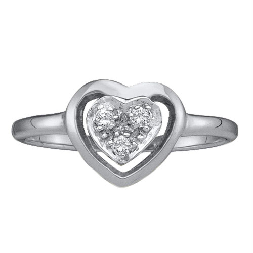 10kt White Gold Womens Round Diamond Simple Heart Cluster Ring 1/20 Cttw