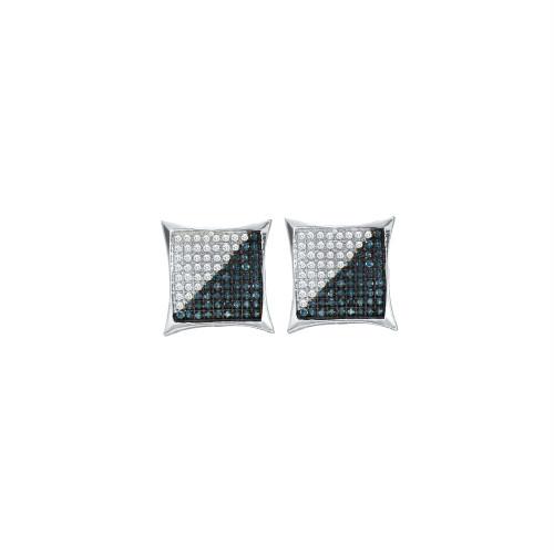 10kt White Gold Mens Round Blue Color Enhanced Diamond Square Kite Cluster Earrings 1/3 Cttw