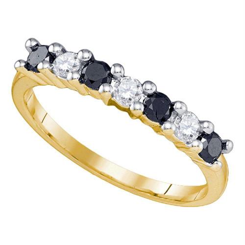 10k Yellow Gold Womens Black Color Enhanced Round Diamond Wedding Anniversary Band 1/2 Cttw
