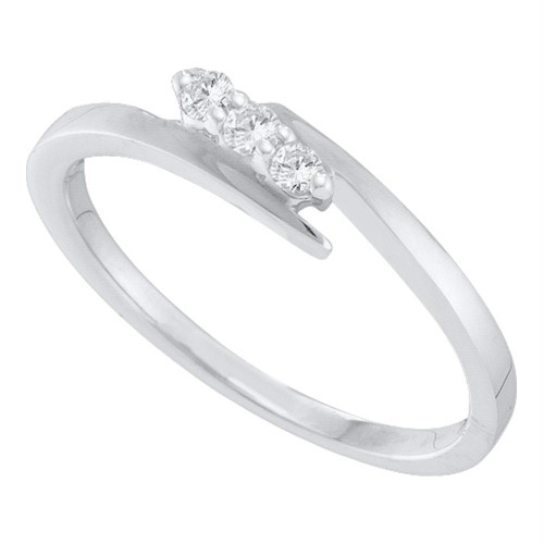 10kt White Gold Womens Round Diamond 3-stone Promise Bridal Engagement Ring 1/10 Cttw