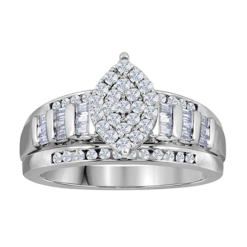 10kt White Gold Womens Round Diamond Oval Cluster Bridal Wedding Engagement Ring 1.00 Cttw