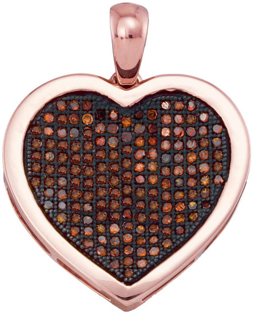 10kt Rose Gold Womens Round Red Color Enhanced Diamond Heart Love Cluster Pendant 1/2 Cttw