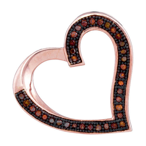 10kt Rose Gold Womens Round Red Color Enhanced Diamond Heart Love Pendant 1/10 Cttw - 93543