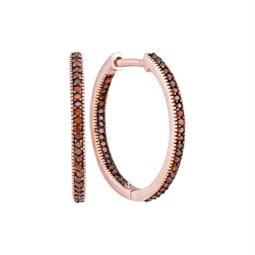 10kt Rose Gold Womens Round Red Color Enhanced Diamond Hoop Earrings 1/4 Cttw