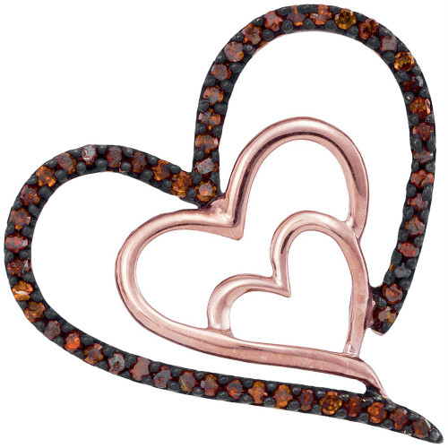 10kt Rose Gold Womens Round Red Color Enhanced Diamond Heart Love Pendant 1/6 Cttw - 93538