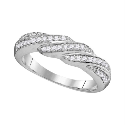 10kt White Gold Womens Round Diamond Crossover Band Ring 1/4 Cttw - 104037-11