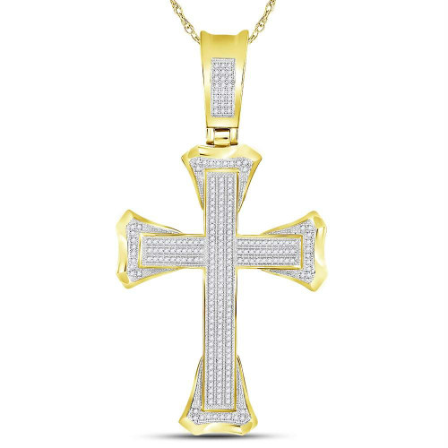 10kt Yellow Gold Mens Round Diamond Flared Christian Cross Charm Pendant 5/8 Cttw