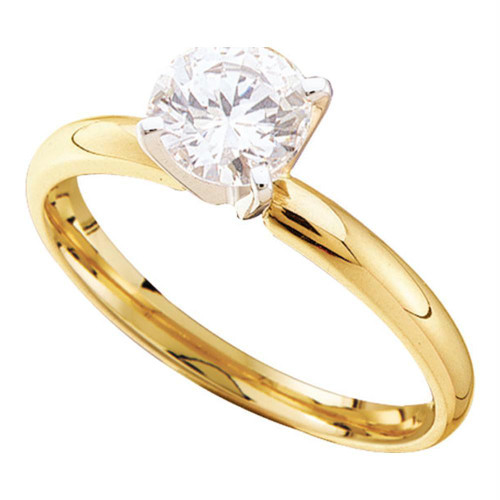 14kt Yellow Gold Womens Round Diamond Solitaire Bridal Wedding Engagement Ring 1/4 Cttw - 11643-5.5