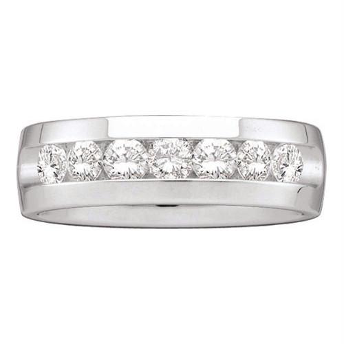 14kt White Gold Mens Round Channel-set Diamond Wedding Band Ring 1-1/2 Cttw