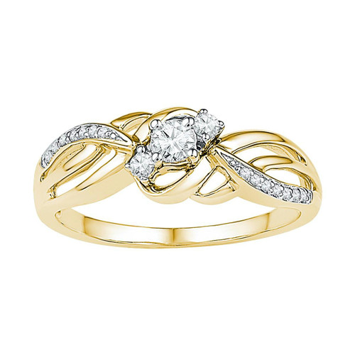 10kt Yellow Gold Womens Round Diamond 3-stone Bridal Wedding Engagement Ring 1/4 Cttw - 108640-6