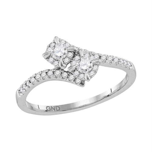 14kt White Gold Womens Round Diamond 2-stone Bridal Wedding Engagement Ring 1/3 Cttw