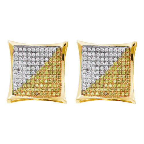 10kt Yellow Gold Mens Round Color Enhanced Diamond Square Kite Cluster Earrings 1/6 Cttw