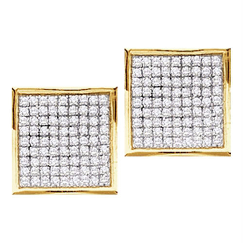 10kt Yellow Gold Womens Round Diamond Square Cluster Stud Earrings 1/20 Cttw