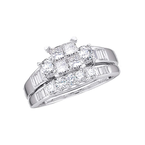 10kt White Gold Womens Princess Diamond Bridal Wedding Engagement Ring Band Set 1.00 Cttw