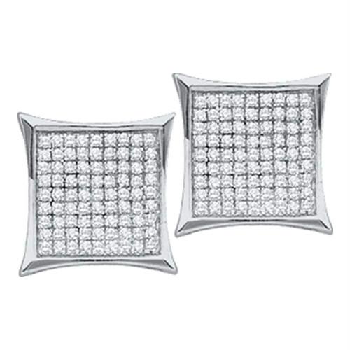 10kt White Gold Womens Round Diamond Square Kite Cluster Earrings 1/3 Cttw