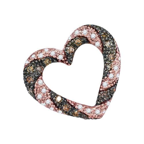 10kt Rose Gold Womens Round Cognac-brown Color Enhanced Diamond Striped Heart Pendant 1/4 Cttw
