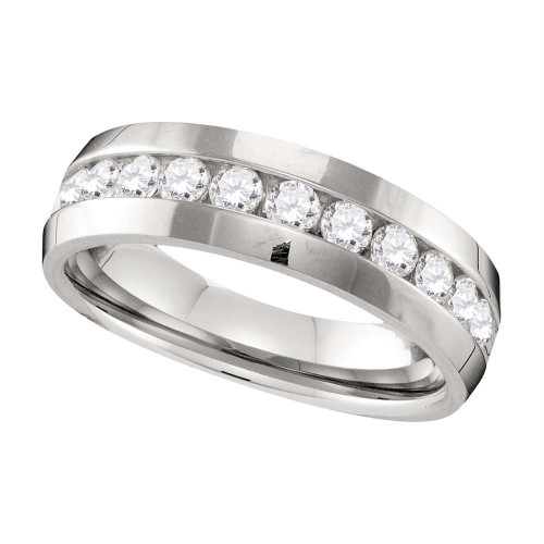 10k White Gold Mens Round Diamond Wedding Anniversary Band Ring 1.00 Cttw - 109593-11.5