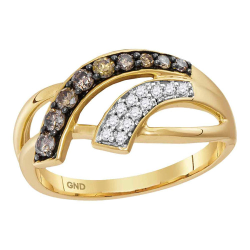10kt Yellow Gold Womens Round Cognac-brown Color Enhanced Diamond Band Ring 1/3 Cttw - 115026-6