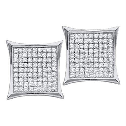 14kt White Gold Womens Round Diamond Square Kite Cluster Stud Earrings 1/10 Cttw