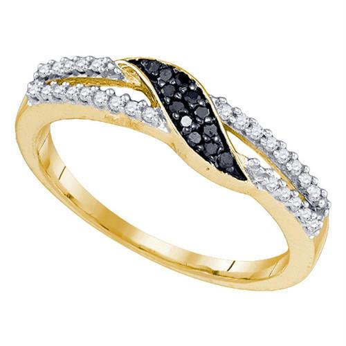 10k Yellow Gold Black Color Enhanced Diamond Womens Slender Unique Crossover Band Ring Unique 1/6 Cttw