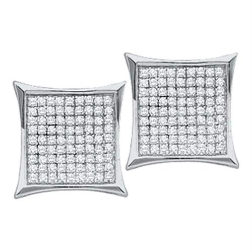 14kt White Gold Womens Round Diamond Square Kite Cluster Stud Earrings 1/20 Cttw