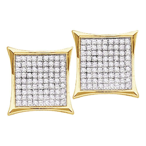 14kt Yellow Gold Womens Round Diamond Square Kite Cluster Stud Earrings 1/10 Cttw