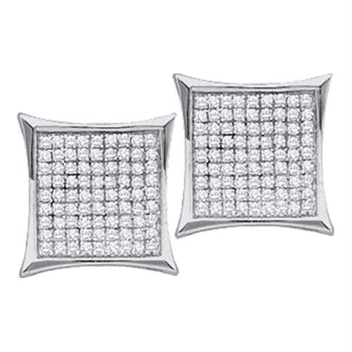 10kt White Gold Womens Round Diamond Square Kite Cluster Stud Earrings 1/20 Cttw