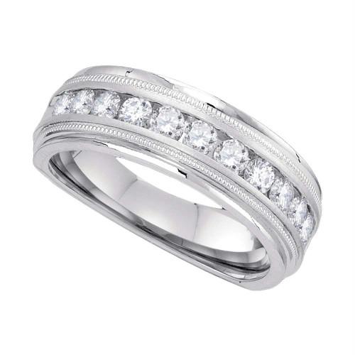 10kt White Gold Mens Round Channel-set Diamond Milgrain Edge Wedding Band Ring 1/2 Cttw