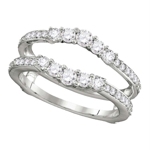 14kt White Gold Womens Round Diamond Ring Guard Wrap Solitaire Enhancer 3/4 Cttw