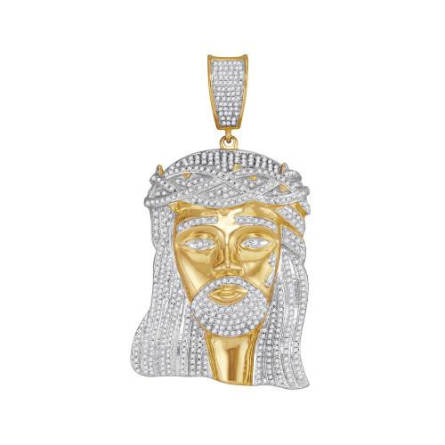 10kt Yellow Gold Mens Round Diamond Jesus Christ Messiah Charm Pendant 2-1/2 Cttw