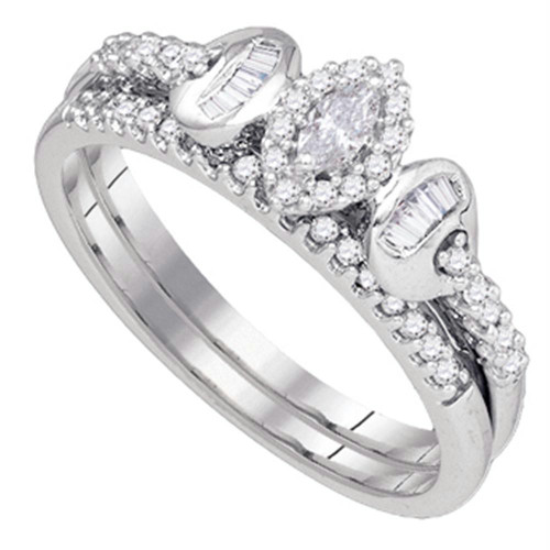 10k White Gold Marquise Diamond Womens Wedding Bridal Ring Set 1/3 Cttw