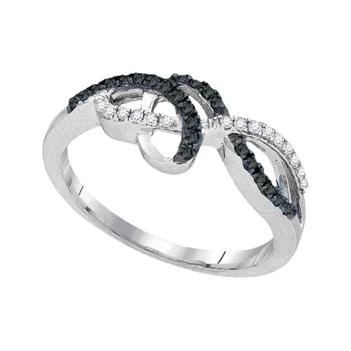 10kt White Gold Womens Round Black Color Enhanced Diamond Woven Strand Band Ring 1/5 Cttw