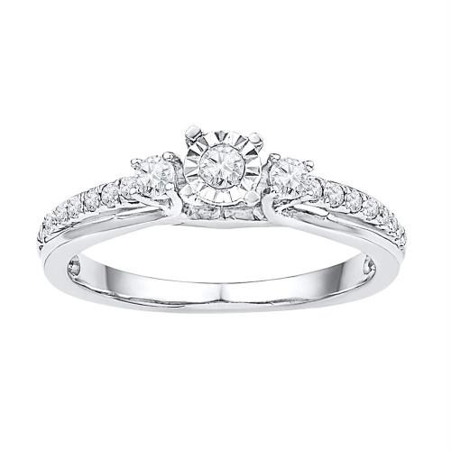 10kt White Gold Womens Round Diamond 3-stone Bridal Wedding Engagement Ring 1/3 Cttw