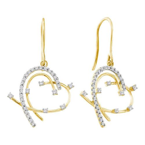 14kt Yellow Gold Womens Round Diamond Wire Heart Dangle Earrings 1/3 Cttw