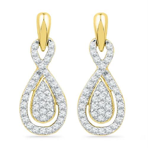 10k Yellow Gold Womens Diamond Oval-shape Dangle Screwback Earrings 1/3 Cttw
