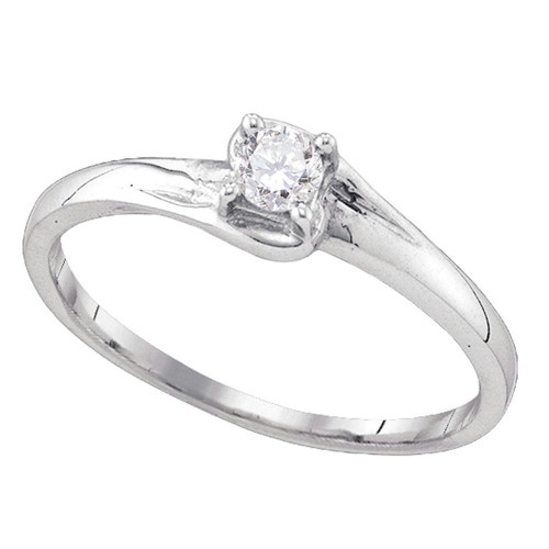 10kt White Gold Womens Round Diamond Solitaire Promise Bridal Ring 1/10 Cttw - 77560-10