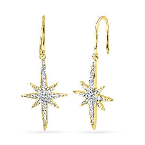 10kt Yellow Gold Womens Round Diamond Starburst Dangle Earrings 1/6 Cttw