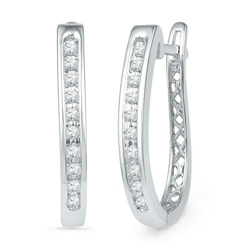 10kt White Gold Womens Round Diamond Slender Single Row Oblong Hoop Earrings 1/5 Cttw