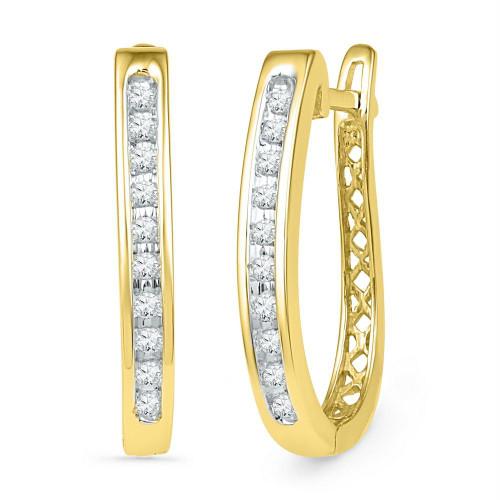 10kt Yellow Gold Womens Round Diamond Slender Single Row Oblong Hoop Earrings 1/5 Cttw