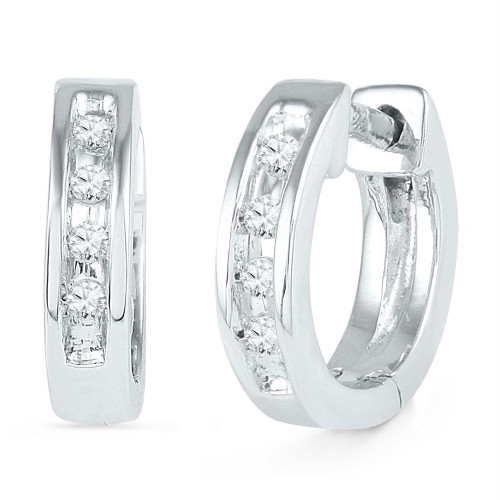 10kt White Gold Womens Round Diamond Single Row Huggie Earrings 1/20 Cttw