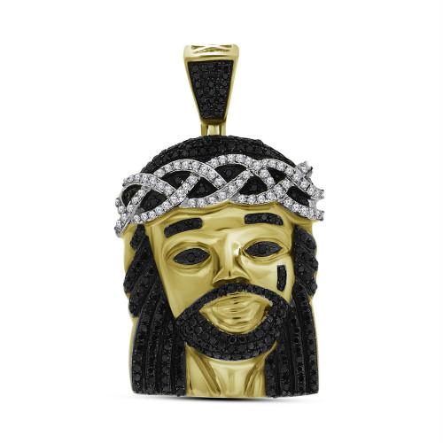 10k Yellow Gold Polished Black Color Enhanced Diamond Mens Jesus Christ 3D Head Piece Charm Pendant 1.00 Cttw