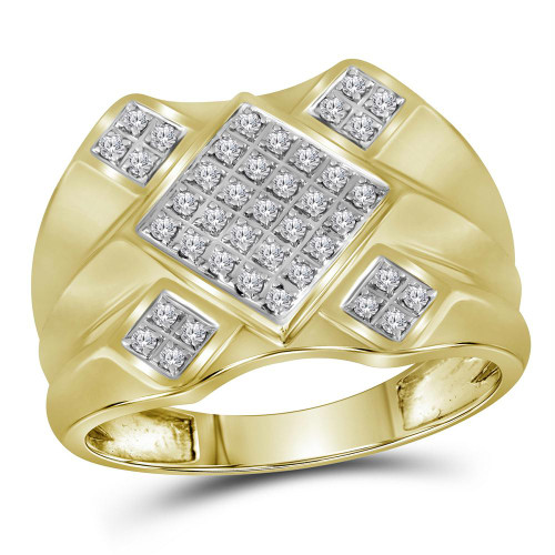 10kt Yellow Gold Mens Round Diamond Diagonal Square Cluster Ring 1/3 Cttw