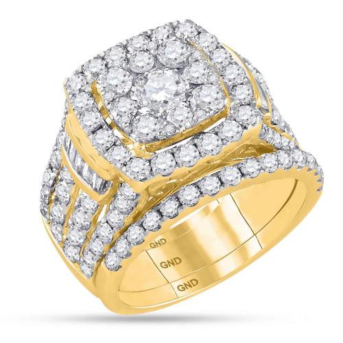 14kt Yellow Gold Womens Round Diamond Bridal Wedding Engagement Ring Band Set 4.00 Cttw