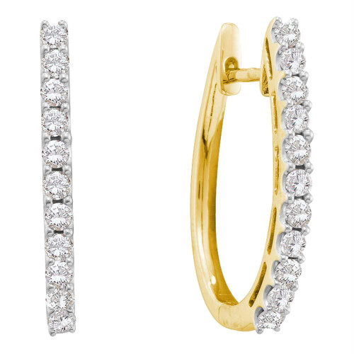 14kt Yellow Gold Womens Round Diamond Hoop Earrings 1.00 Cttw